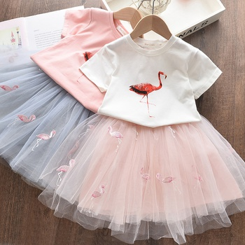 2-piece Toddler Girl Flamingo Print Trendy and Tulle Skirt Sets