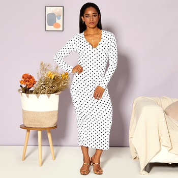 V-neck Polka dot Normal shoulder H Midi Dress