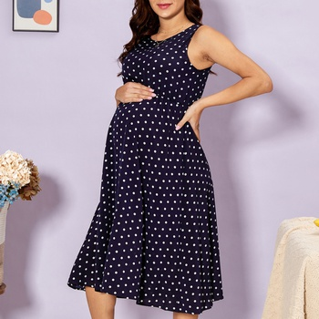 Casual Dotted Sleeveless Maternity Dress