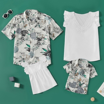 Casual Holiday Style Family Matching Tops(Lace Tops for Mom and Girl - Button Front Shirts for Dad and Boy)