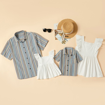 100% Cotton Casual Family Matching Tops(Ruffle Tank Tops - Stripe Button Front Shirts)