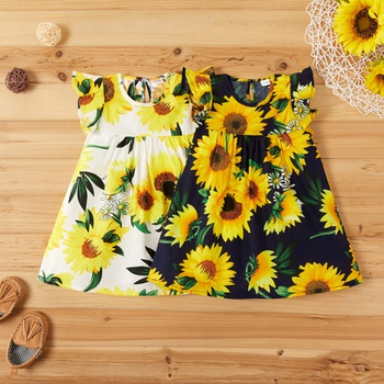 Baby Comfy Ruffled-sleeve Sunflower Print Dress