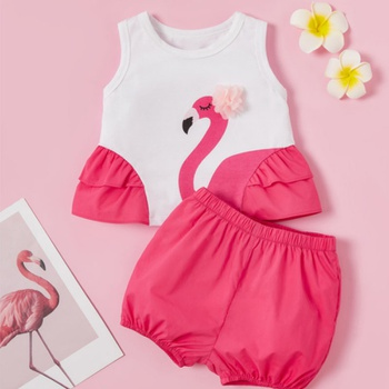 2pcs Baby Girl Animal Pink  Baby's Sets