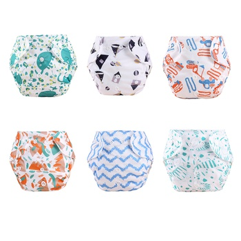 Cartoon Fresh Baby Washable Adjustable Cloth Diaper Waterproof Breathable Eco-friendly Diaper