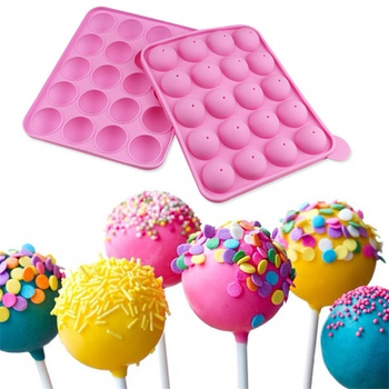 1PC 20 Holes Silicone Cake Candy Cookie Mold Cupcake Lollipop Sticks Tray Stick Chocolate Soap DIY Mould Baking Tool