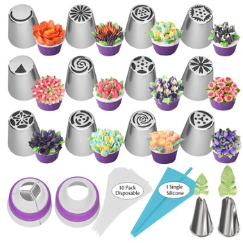 27Pcs Stainless Steel Flat Head Decorating Mouth Novice Baking Cake Cupcake Bouquet Leaf Decorating Tool