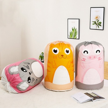 Cylindrical Tiger Pig Mouse Print Drawstring PEVA Beam Mouth Clothing Storage Bag Quilt Pouch Thicken Finishing Packaging Bag