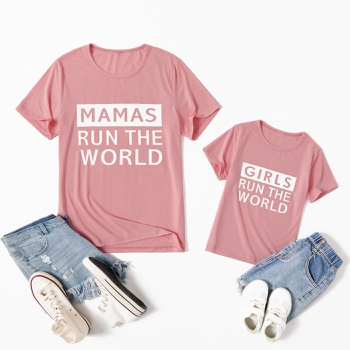 Pink Letter Print Cotton Short Sleeve T-shirts for Mommy and Me