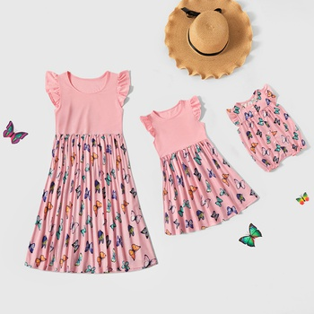 Butterfly Print Pink Ruffle-sleeve Dresses for Mommy and Me