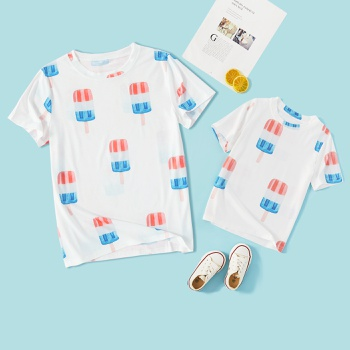 Ice Cream White Short Sleeve T-shirts for Mommy and Me