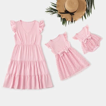 Solid Pink Ruffle Sleeve Dresses for Mommy and Me
