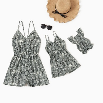 Snakeskin Sling Short Rompers for Mommy and Me