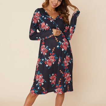 Maternity casual Floral Print V-neck A Long-sleeve Dress