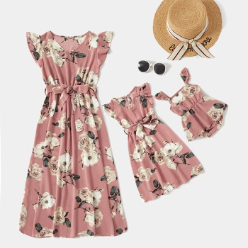 Pink Floral Print Ruffle-sleeve Dresses for Mommy and Me
