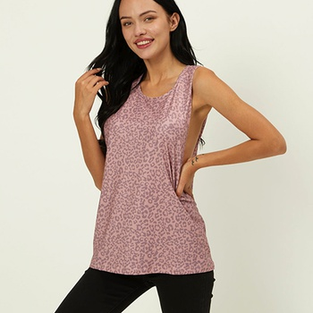 Sports Leopard Print Round collar Sleeveless T-shirt
