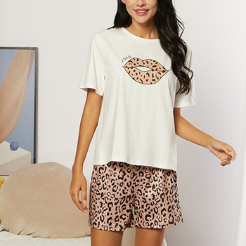 Casual Print Round collar Short Sleeve Loungewear