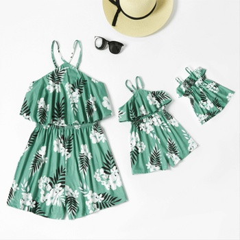 Floral Print Matching Green Sling Shorts Rompers