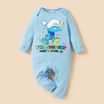 Smurfs Baby Boy/Girl Letter Graphic Cotton Jumpsuit
