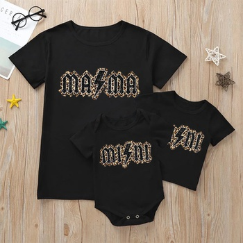 Letter Leopard Print Short Sleeve T-shirts for Mom and Me