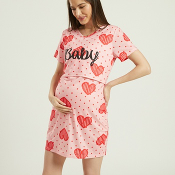 Maternity casual Heart-shaped Print Robes & Nightgowns