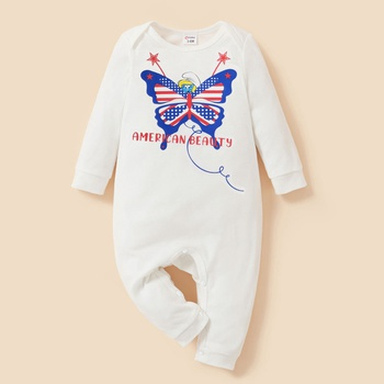 Smurfs Baby Girl Stars and Stripe Butterfly Independence Day Cotton Jumpsuit