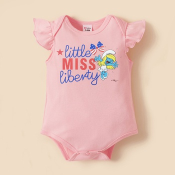 Smurfs Baby Girl 4th of July Butterfly Letter Print Cotton Bodysuit
