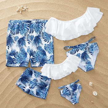 Breezy Palm Leaf Print Family Matching Swimsuits