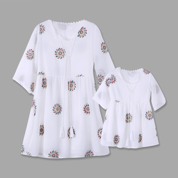 Embroidery Pattern White Matching Mini Dresses