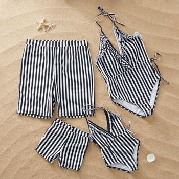 Ruffle and Striped Family Swimsuits