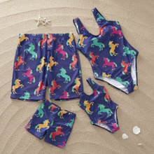 Colorful Unicorn Printed Family Matching Swimsuit