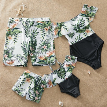 Flounce Plumeria Printed Matching Swimsuits