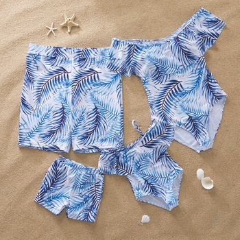 Gradient Blue Leaf  Family Swimsuits