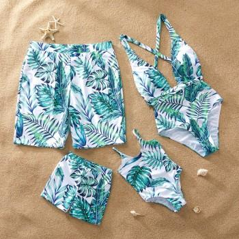 Stylish Leaf Printed Matching Swimsuit