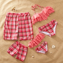 Plaid and Ruffle Family Swimsuits