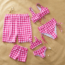 Pink Plaid Family Swimsuits