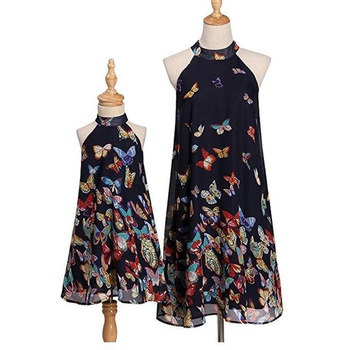 Butterfly Hanging Neck Matching Dresses