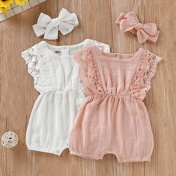Baby Girl Solid Cotton Romper with Headband