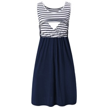 Sassy Striped Sleeveless Nursing Dress