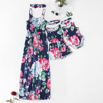 Floral Print Matching Navy Maxi Dress(rompers for kid and baby)