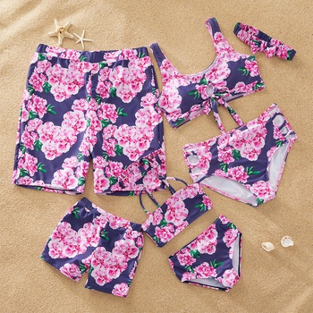 Vintage Floral Print Matching Swimsuits
