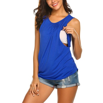 Stylish Solid Round Neck Nursing Tank