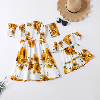 Sunflower Print Off-Shoulder Matching White Mini Dresses