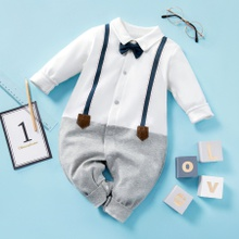 Baby Gentleman Faux-two Long Sleeve Jumpsuit (loose shape)