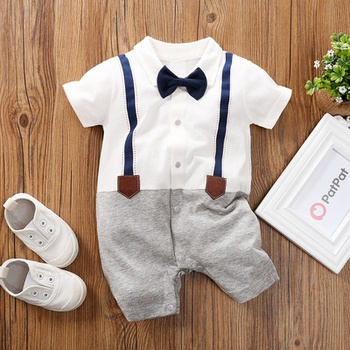 Baby Boy Gentleman Faux-two Overalls Romper (loose shape)