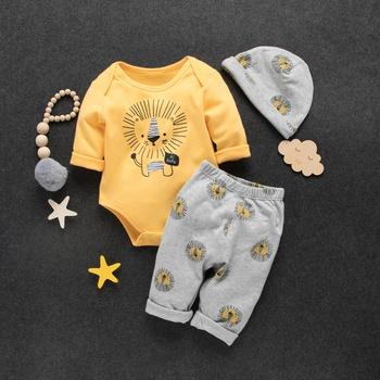 3-piece Baby / Toddler Overlay Lion Print Bodysuit, Pants and Hat Set