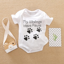"Interesting ""My Siblings Have Paws"" Short-sleeve Bodysuit for Baby"