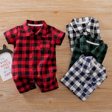 Baby Stylish Plaid Print Rompers