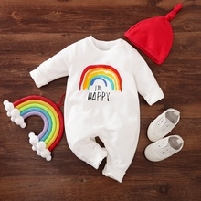2-piece Baby I'M HAPPY Rainbow Print Jumpsuits with Hat Set