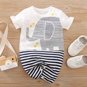 Baby Elephant Striped Bodysuits