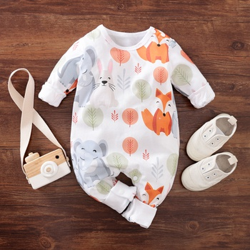 Baby Overlay Fox and Elephant Jumpsuit